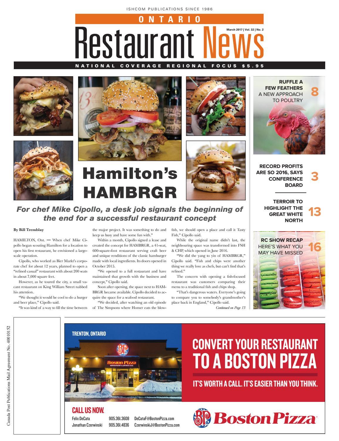 Ontario Restaurant News March 2017 by Ishcom Publications - issuu
