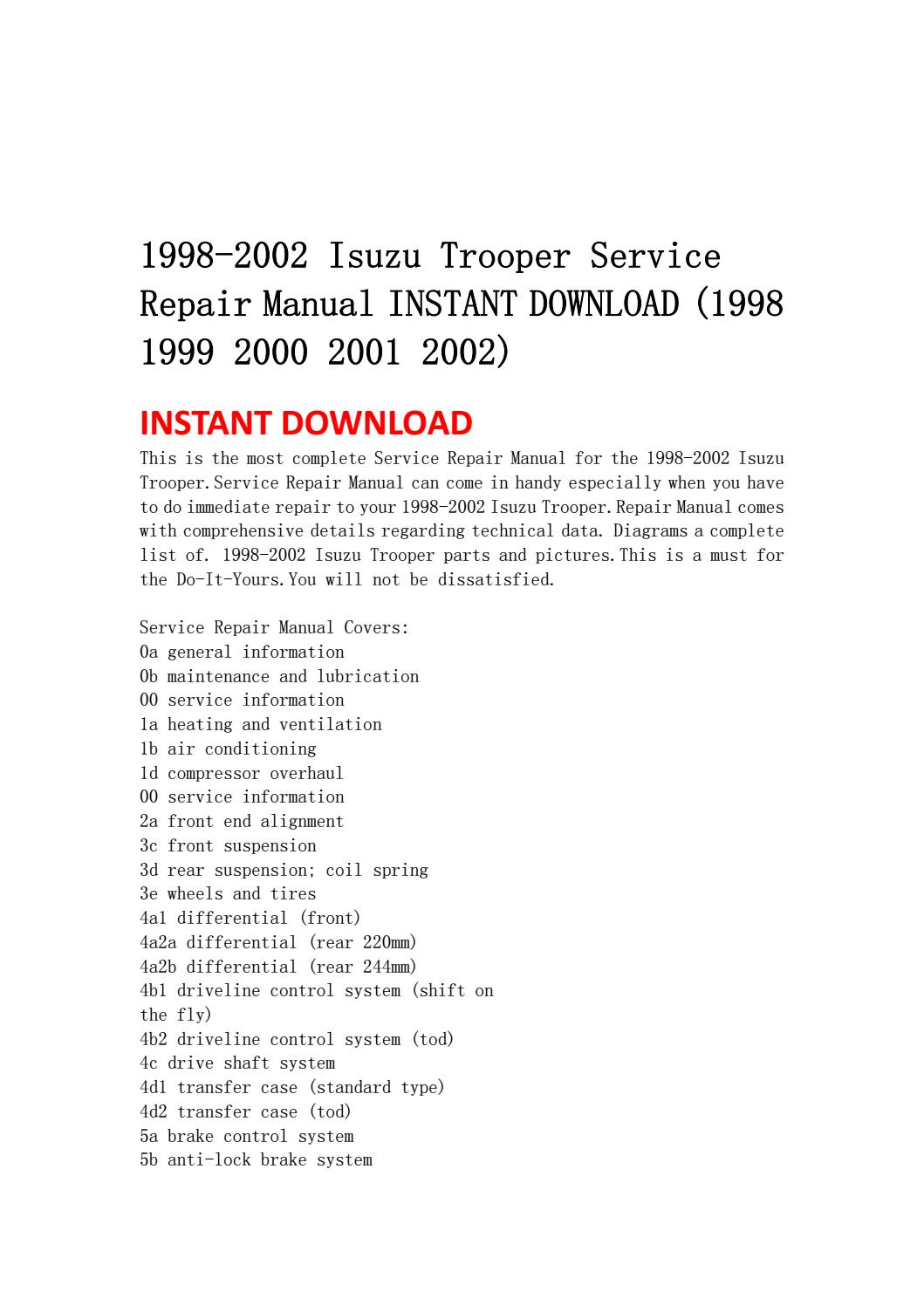 1998 2002 isuzu trooper service repair manual instant