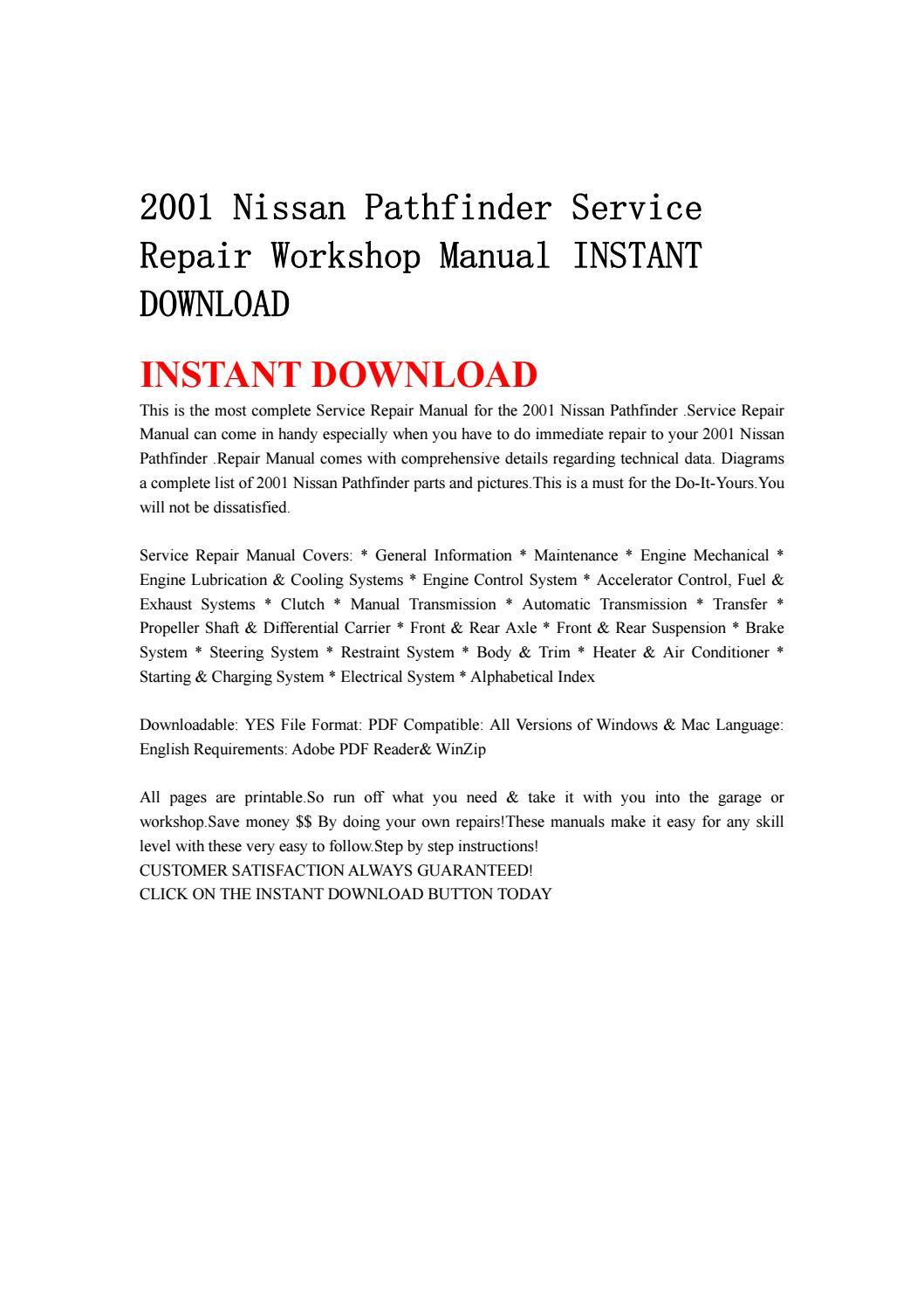 2001 nissan pathfinder engine manual
