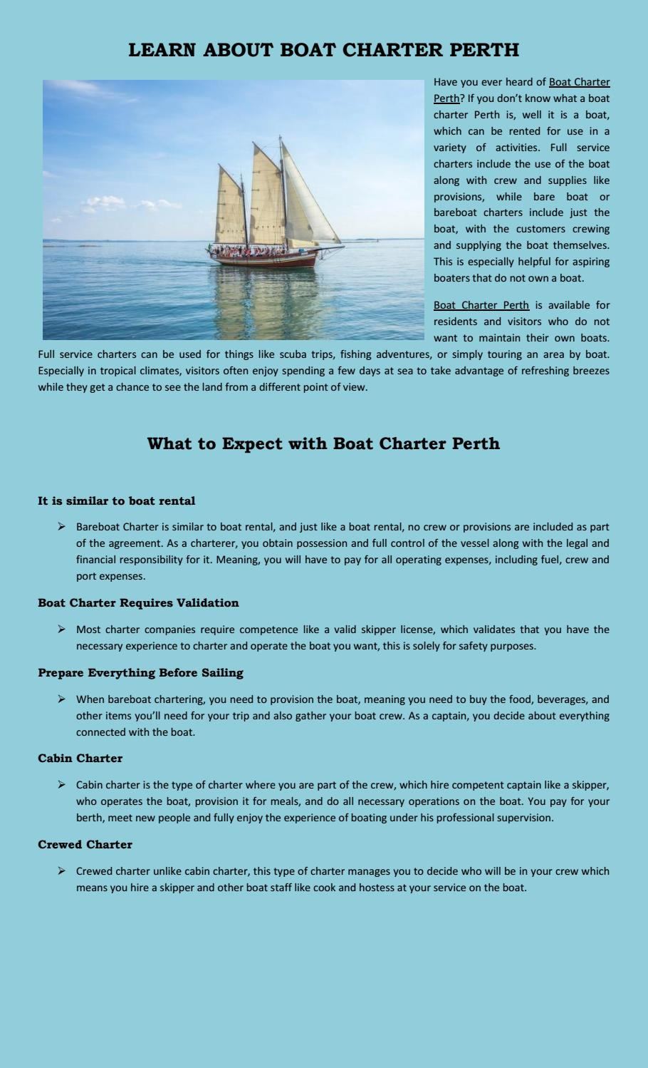 Learn about boat charter perth by alex - issuu