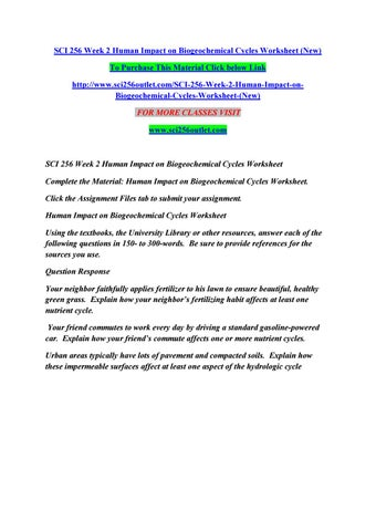 Sci 256 week 2 human impact on biogeochemical cycles worksheet (new ...