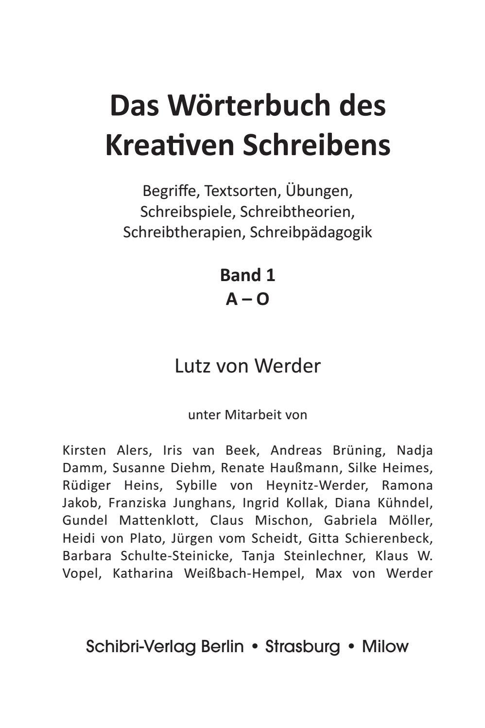 Wörterbuch des kreativen Schreibens – Band I und II by Schibri ...