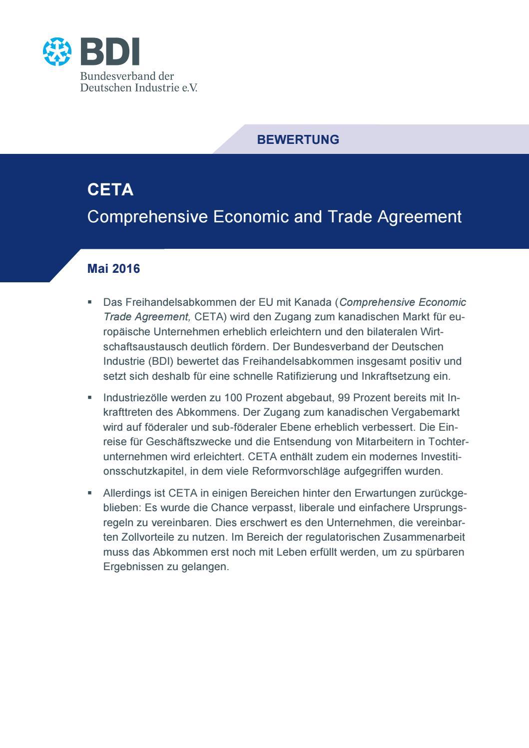 CETA by Bundesverband der Deutschen Industrie e.V. - issuu