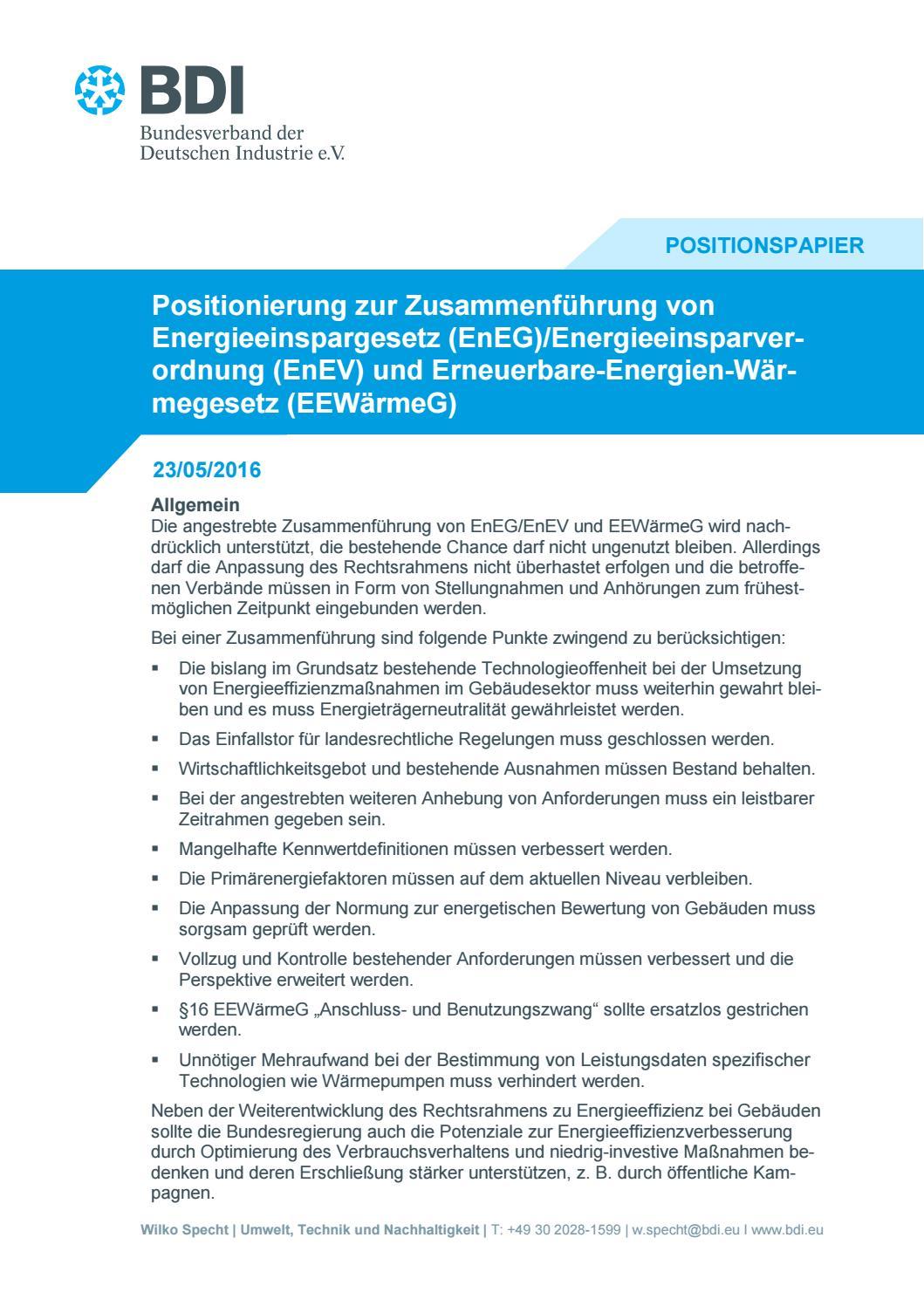 Positionierung zur Zusammenführung von EnEG/EnEV und EEWärmeG by ...