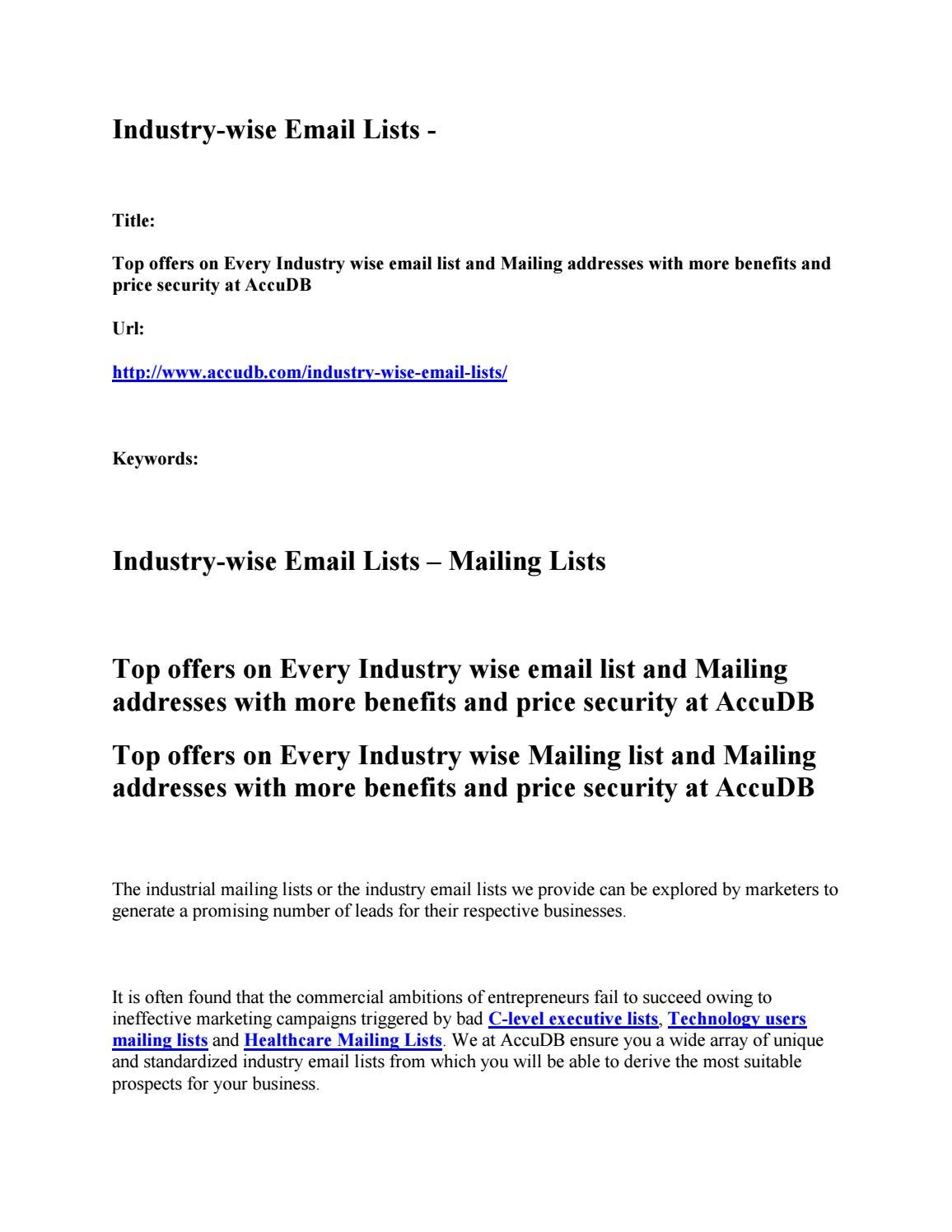 Industry wise mailing lists industry wise email addresses