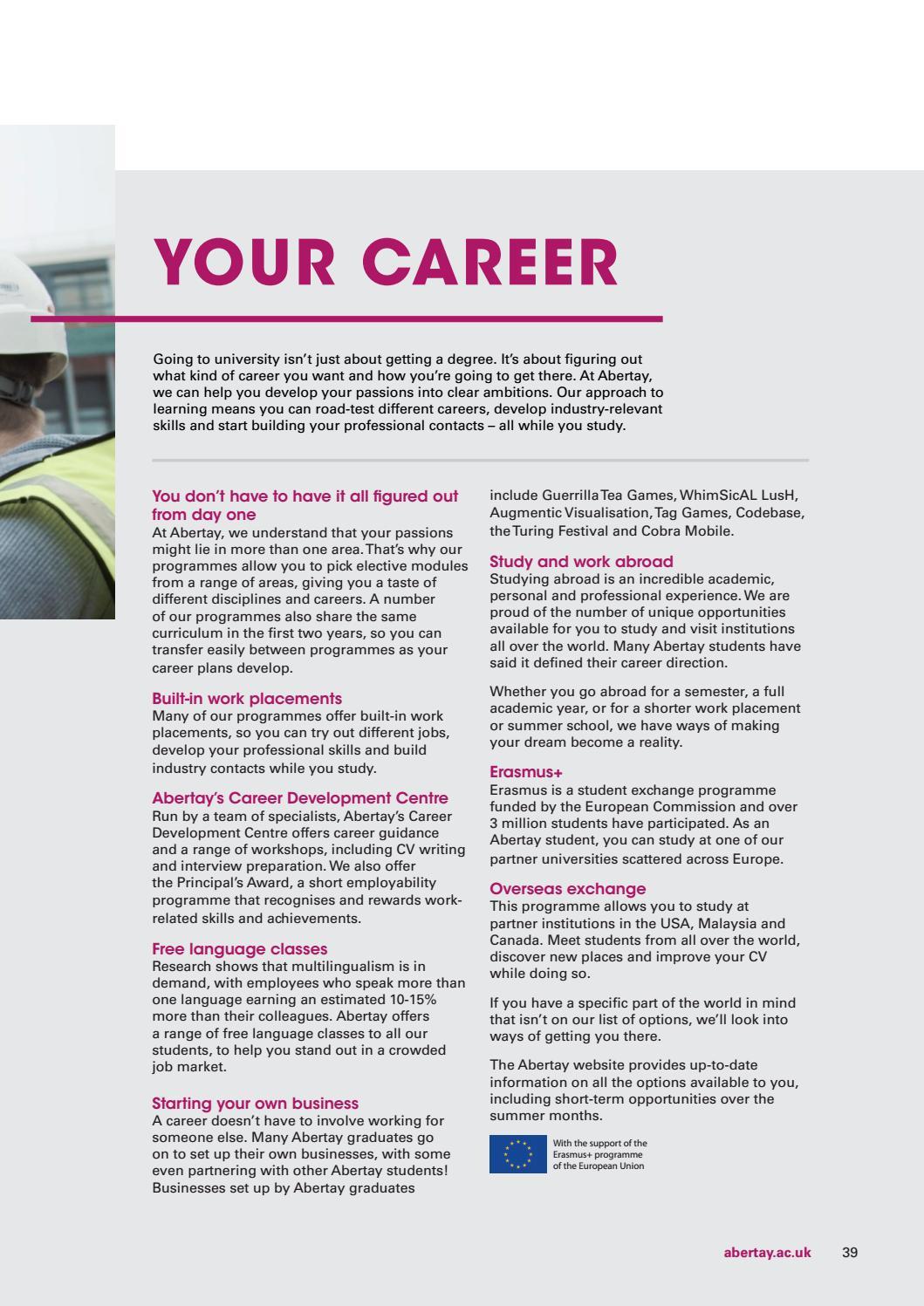 Abertay University Prospectus 2018 by Abertay University - issuu