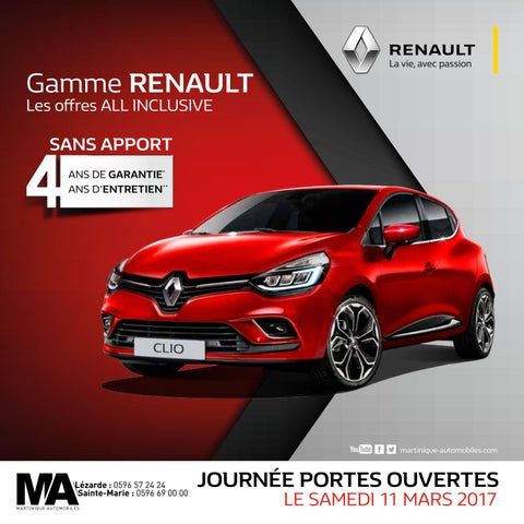 gamme renault les offres all inclusive mars avril 2017 martinique automobiles by. Black Bedroom Furniture Sets. Home Design Ideas
