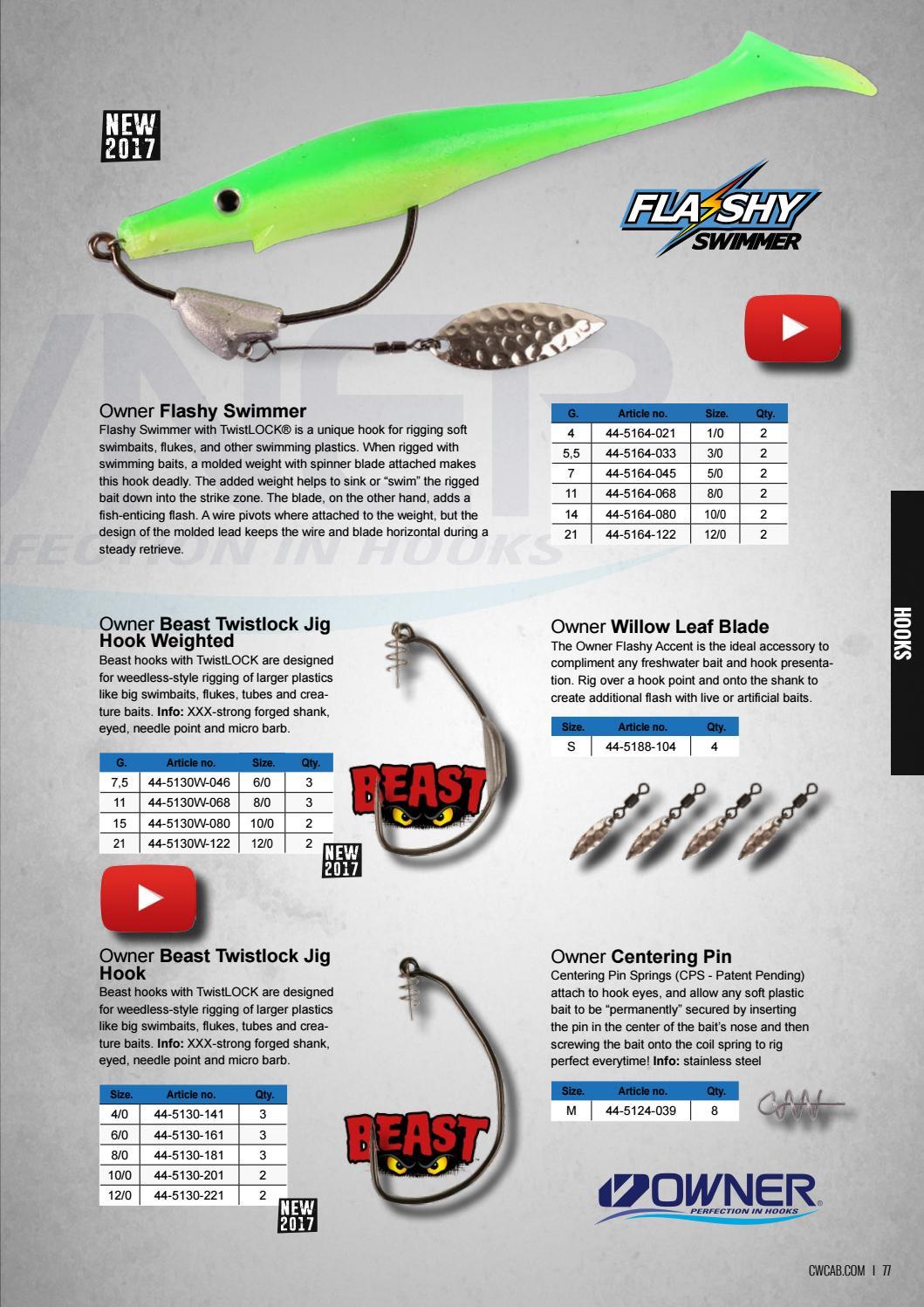Owner 5130-181 Beast Twistlock Swim Bait Hook 8//0