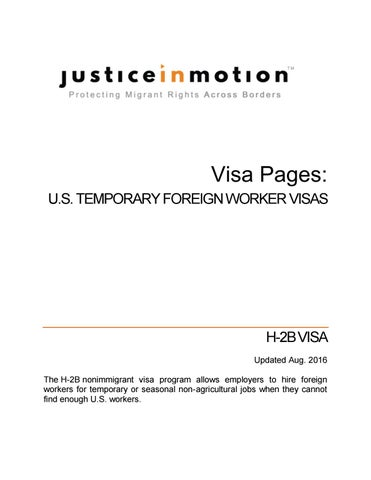 Visa Pages - H-2B - 2015 by Justice In Motion - issuu
