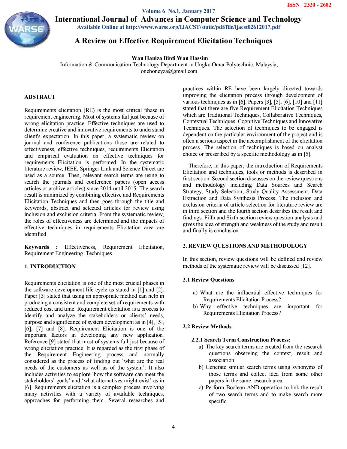 review on effective requirement elicitation techniques by the world academy of research in science and engineering issuu