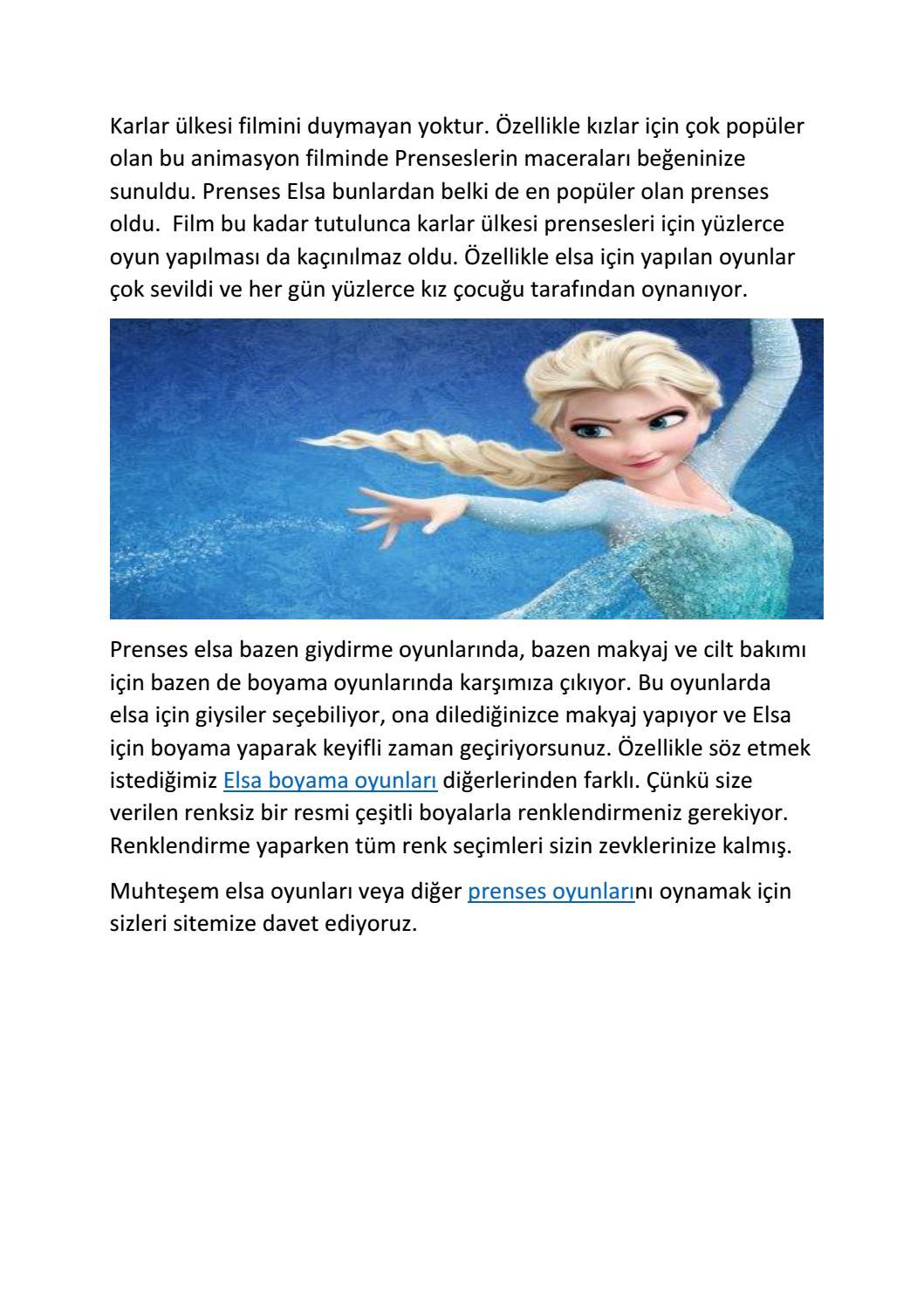 Prenses Elsa Boyama Oyunları By Secilarslann Issuu