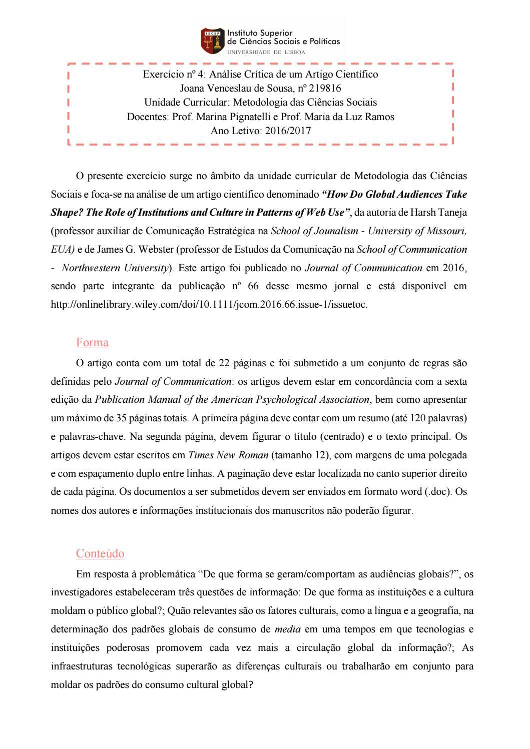 exercício nº4 análise crítica de um artigo científicoexercício nº4 análise crítica de um artigo científico metodologia das ciências sociais by joana de sousa issuu