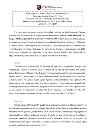 exercício nº4 análise crítica de um artigo científicoexercício nº 4 análise crítica de um artigo científico joana venceslau de sousa, nº 219816 unidade curricular metodologia das ciências sociais docentes
