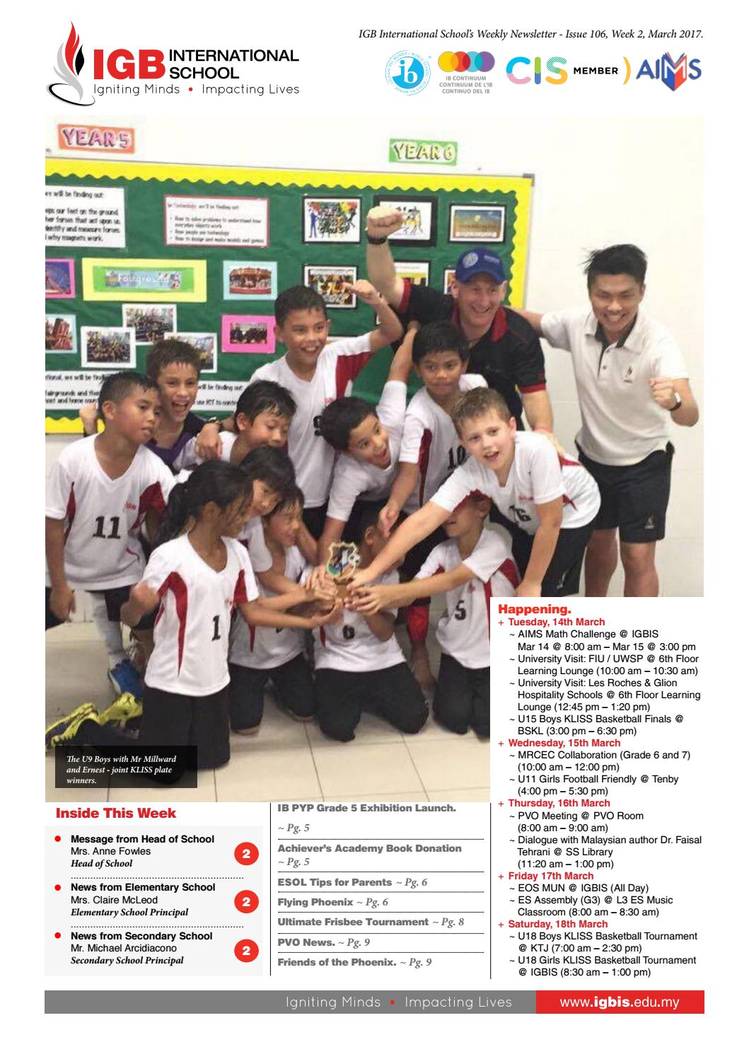 d5ea1826ffc IGBIS Weekly Newsletter. Issue 105
