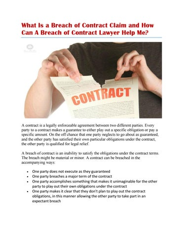 Breach Of Contract Definition By Shrayer Law Firm Llc Issuu