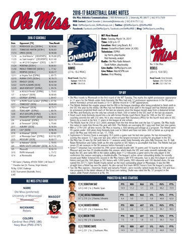 77f56091e2a 2016-17 BASKETBALL GAME NOTES. Ole Miss Athletics Communications ...