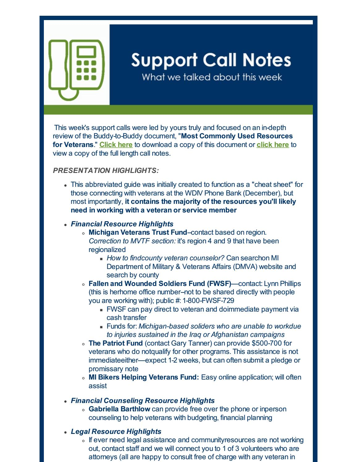 support call notes | most commonly used resources for veterans by