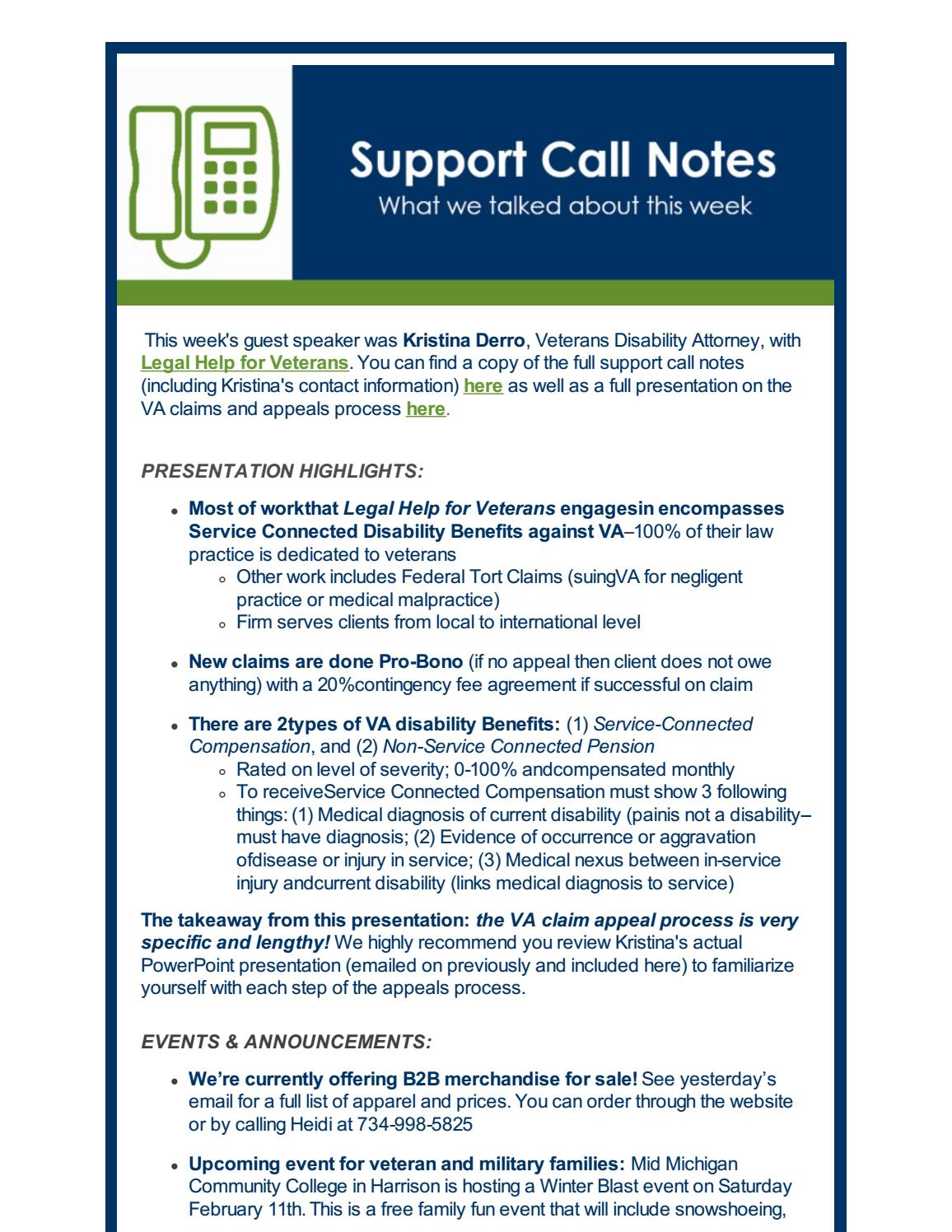 Support Call Notes | Legal Help for Veterans by Buddy-to-Buddy