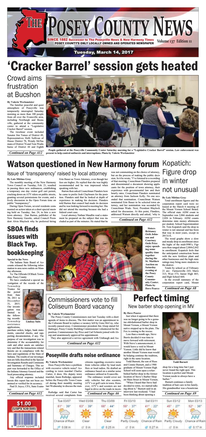 March 14, 2017  The Posey County News By The Posey County News  Issuu