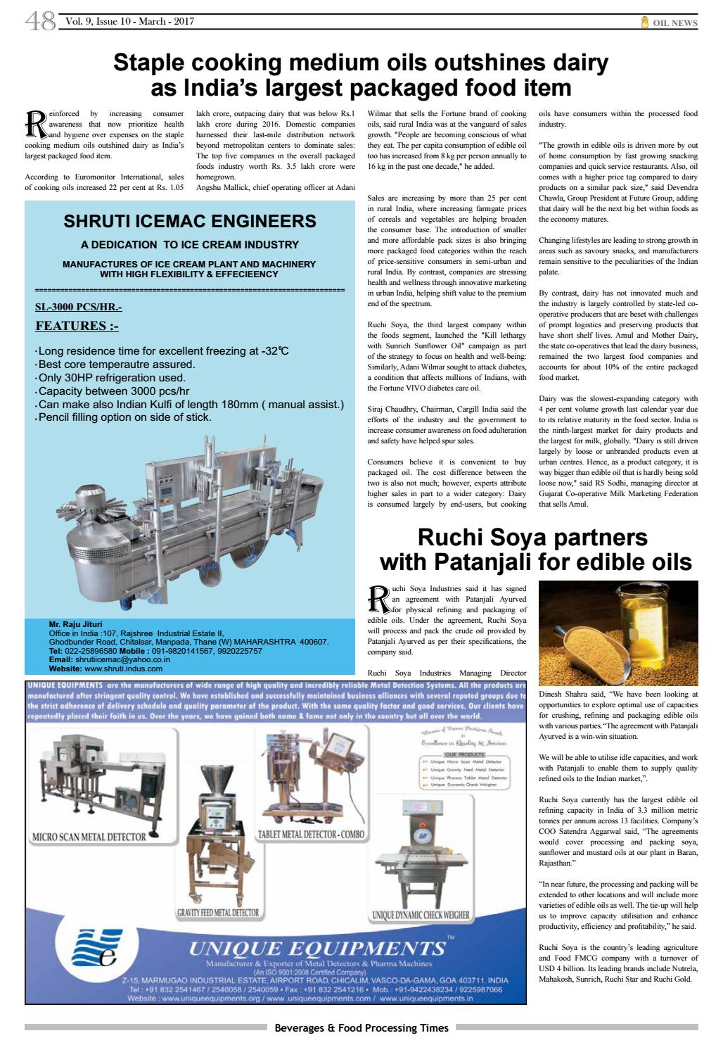 Beverages & Food Processing Times March 2017