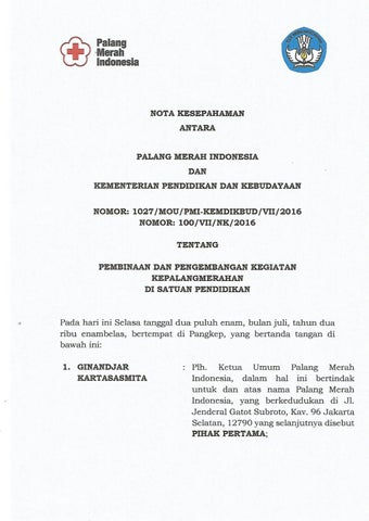 Mou Kerjasama Pmi By Palang Merah Indonesia Issuu