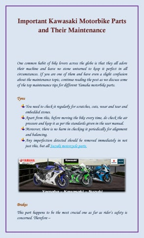 Important Kawasaki Motorbike Parts and Their Maintenance by