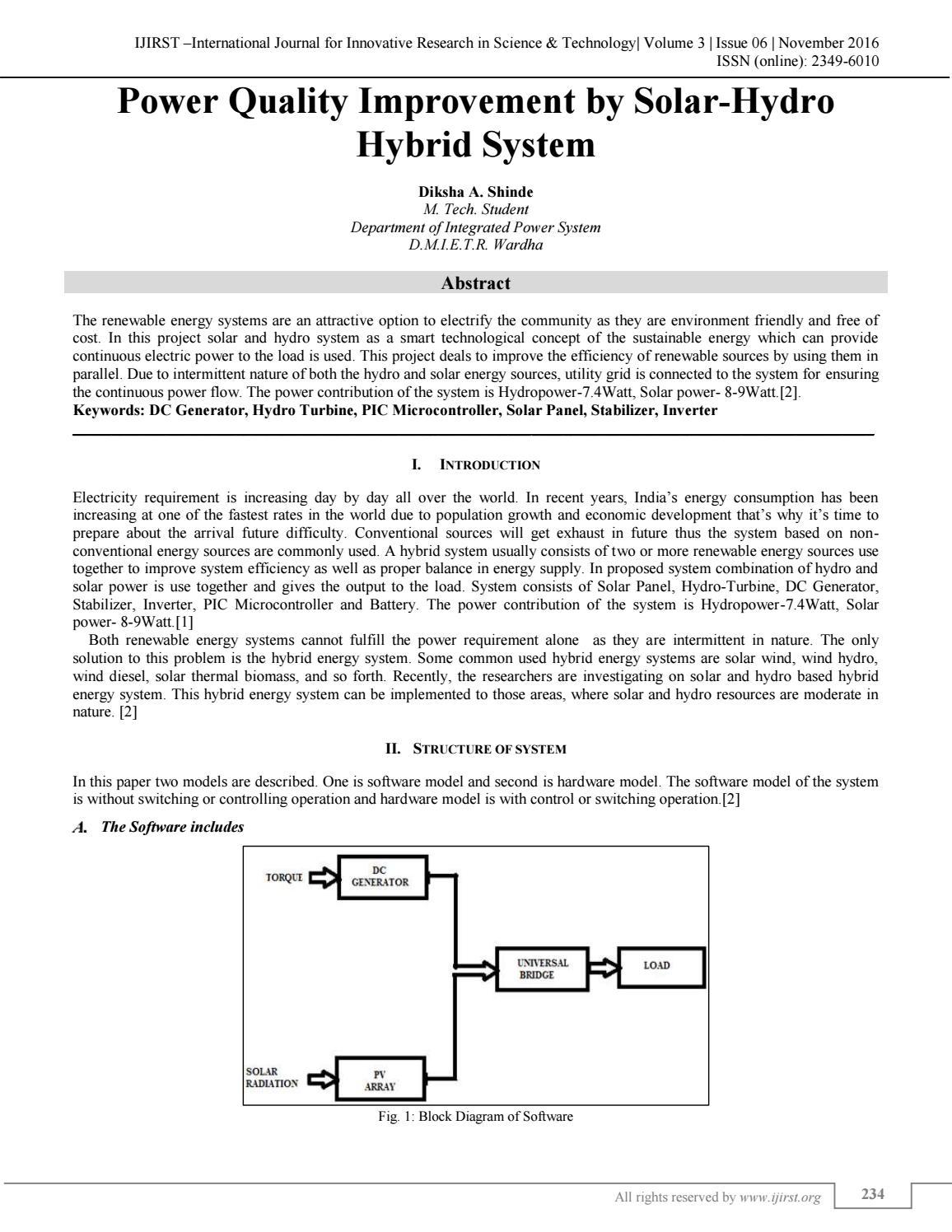 Power Quality Improvement By Solar Hydro Hybrid System Ijirst Issuu Block Diagram Generator Control
