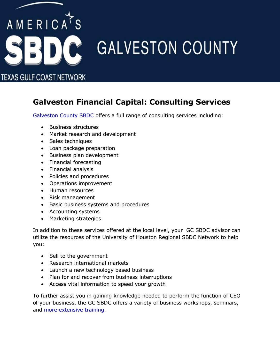 Galveston Financial Capital: Consulting Services by Kadienne