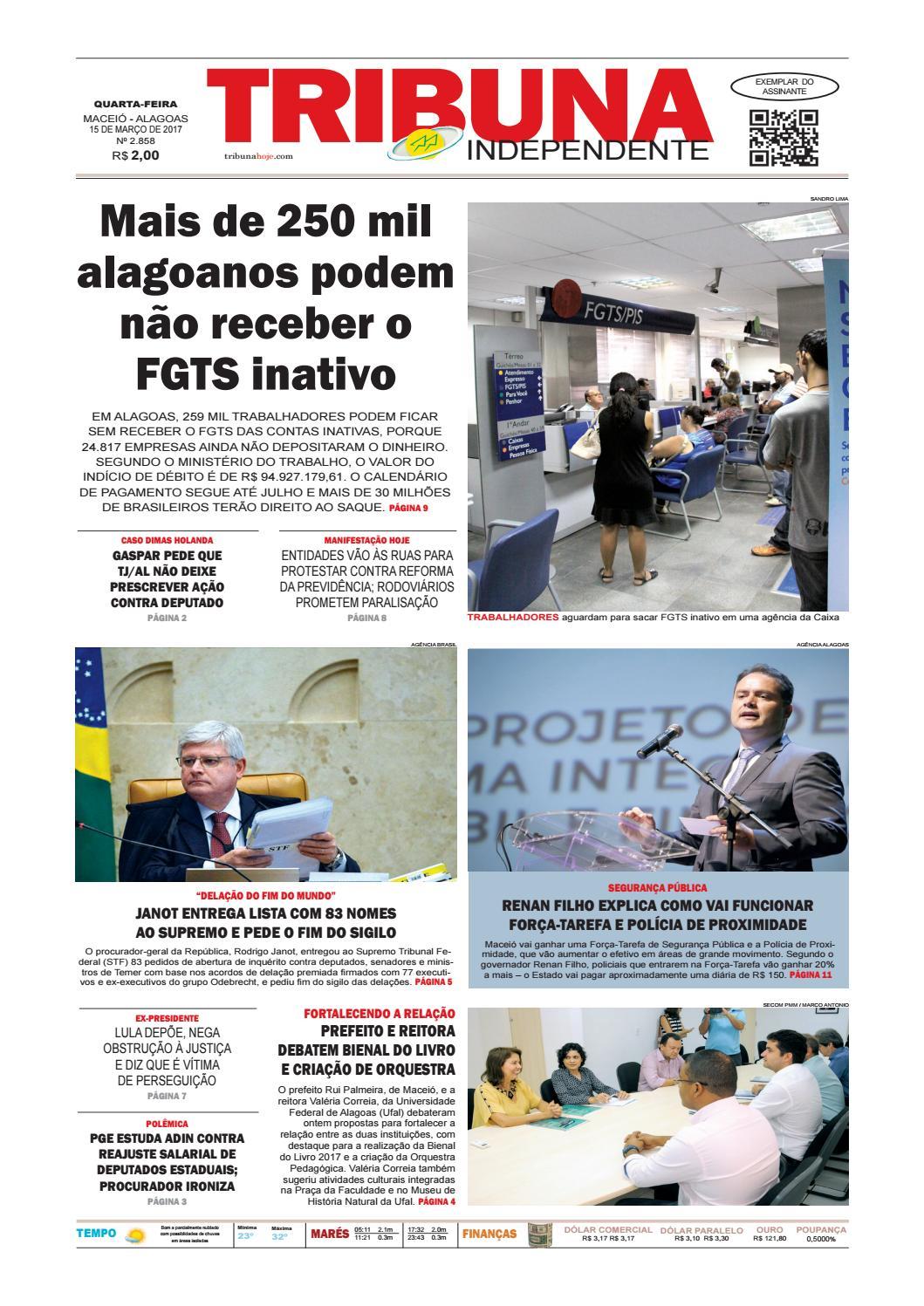 d92c192e1ee Edição número 2857 - 15 de março de 2017 by Tribuna Hoje - issuu