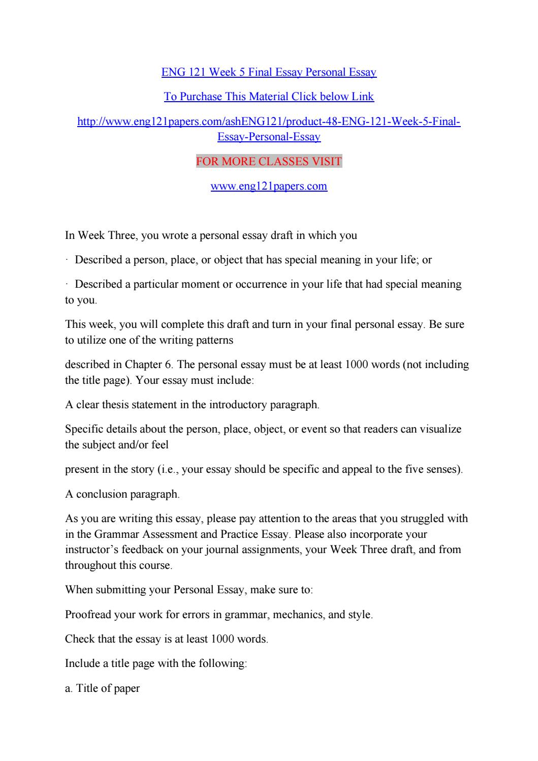eng  week  final essay personal essay by