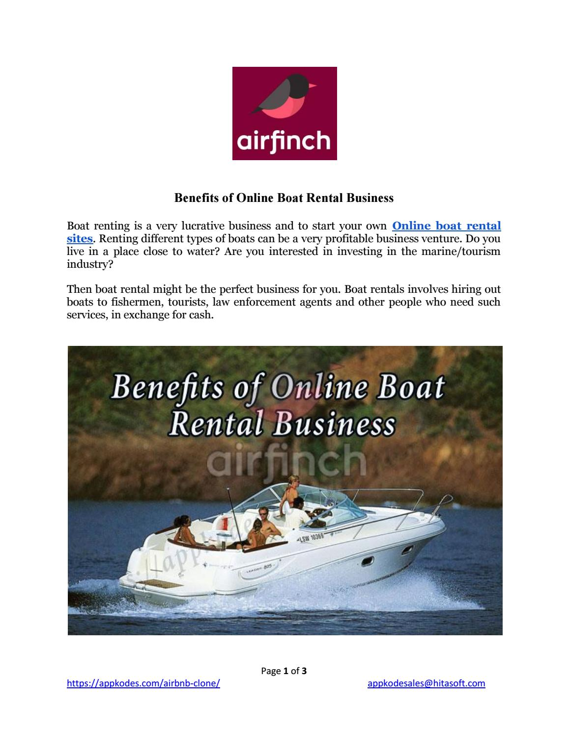 Benefits of online boat rental business by Appkodes - issuu