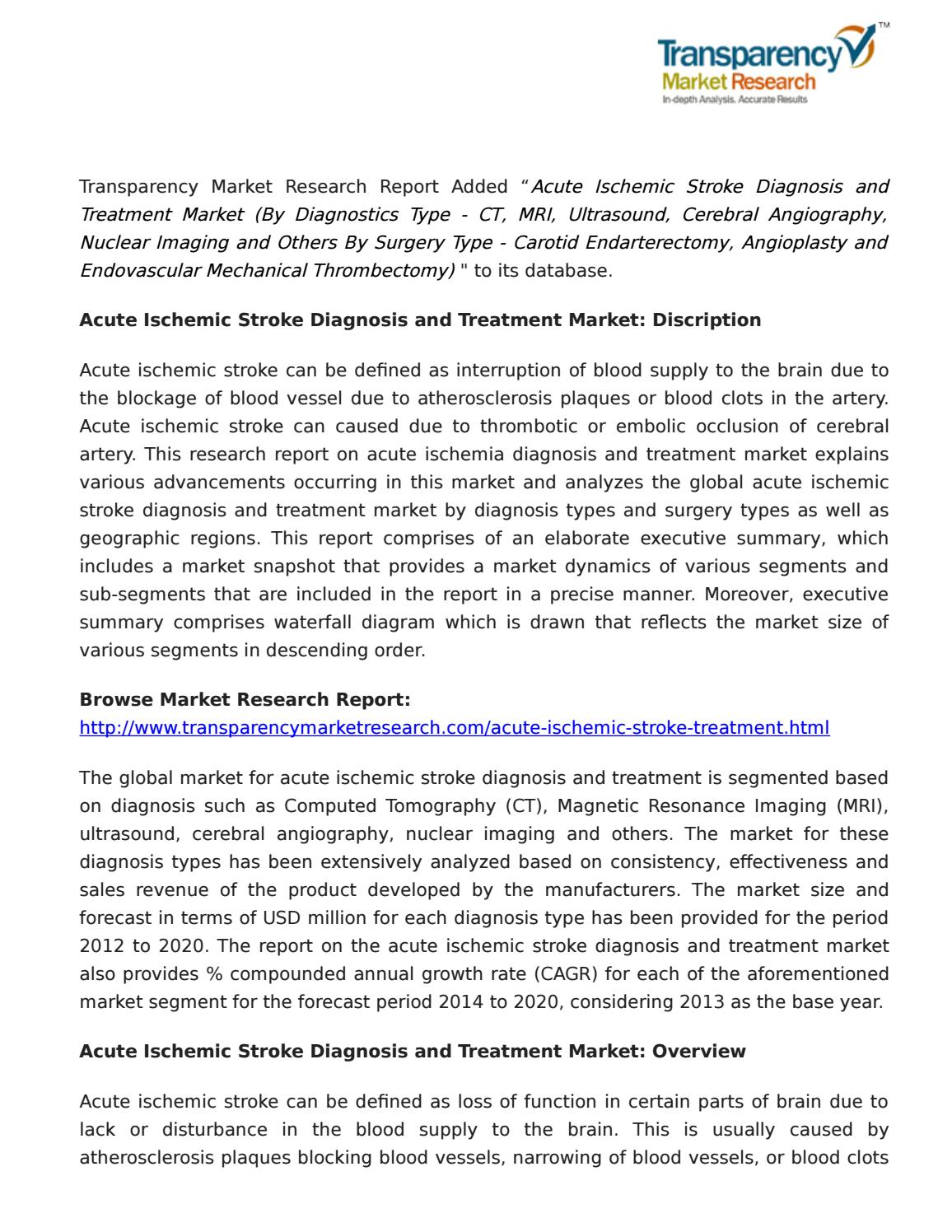 acute ischemic stroke diagnosis and treatment market: a booming