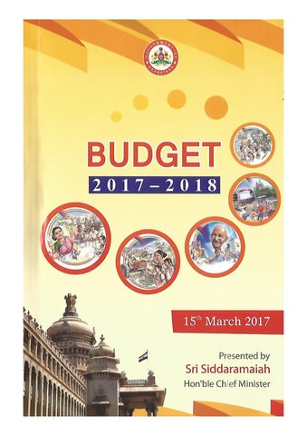 Karnataka State Budget 2017-18 by Chief Minister of