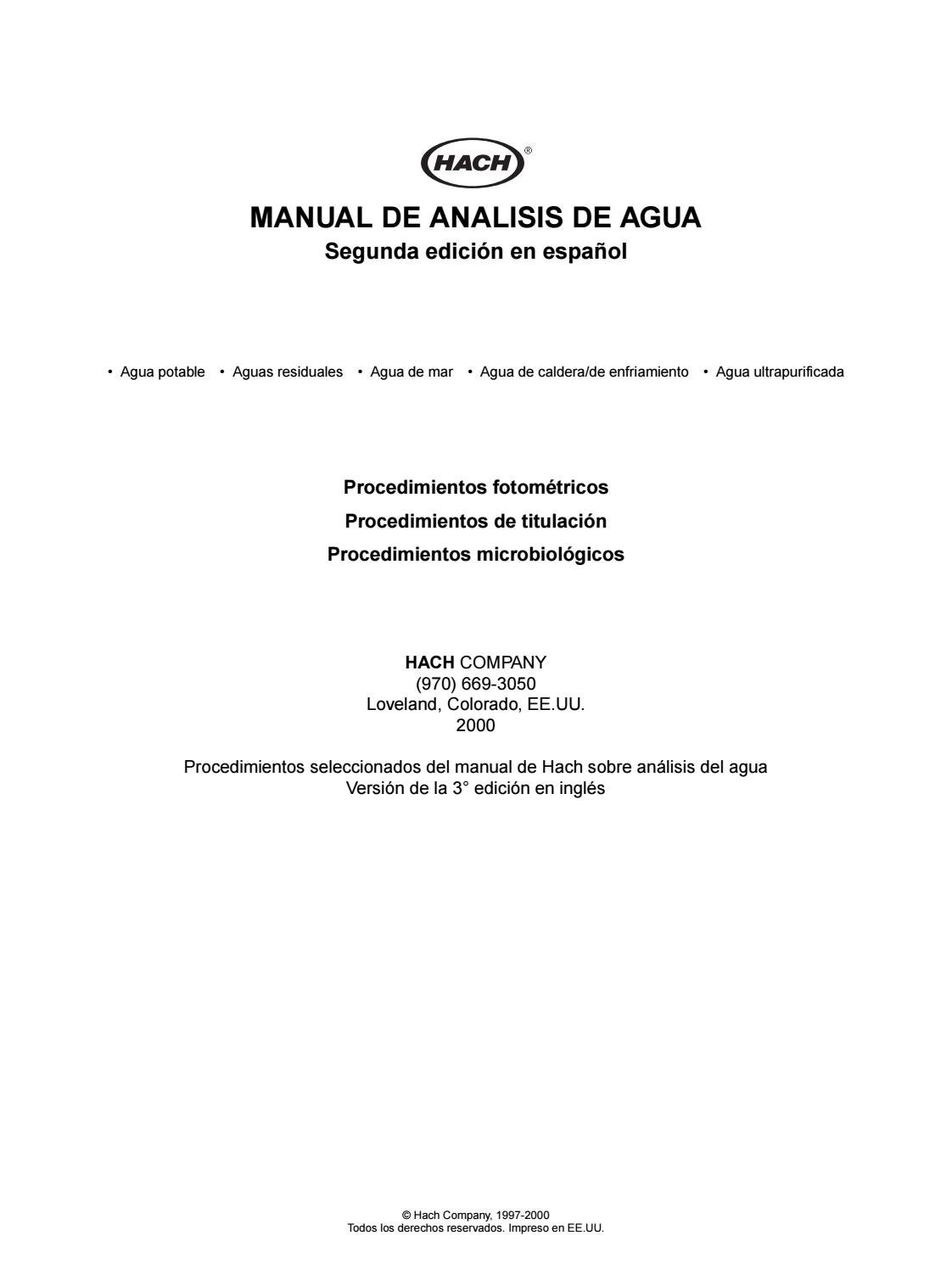 Water analysis manual spanish manual de analisis de agua by Cesar ...