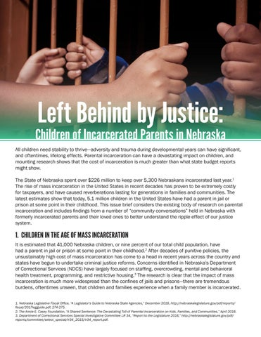 Having Parent Behind Bars Costs >> Left Behind By Justice Children Of Incarcerated Parents In