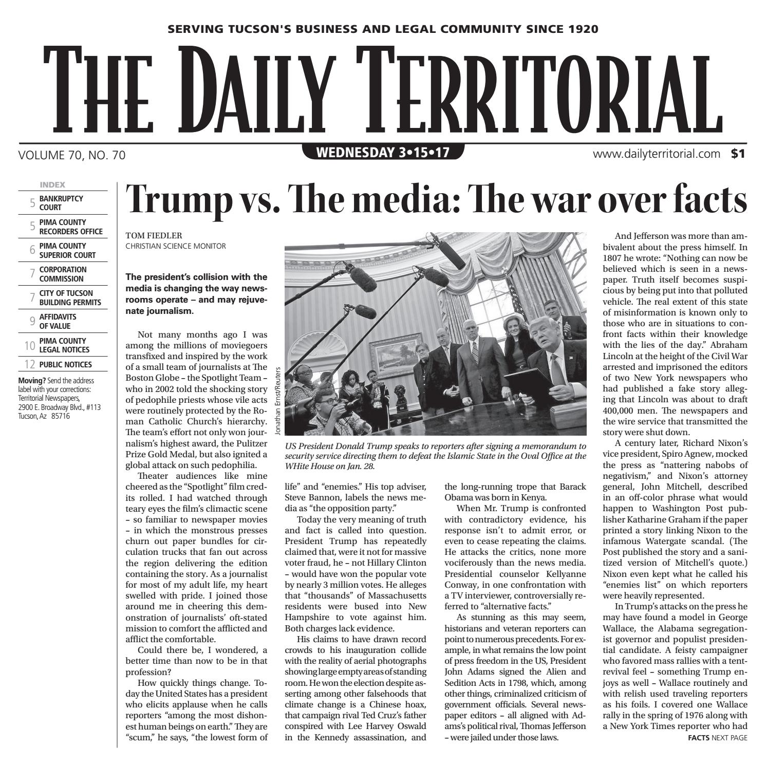 03/15/2017 The Daily Territorial by Wick Communications - issuu