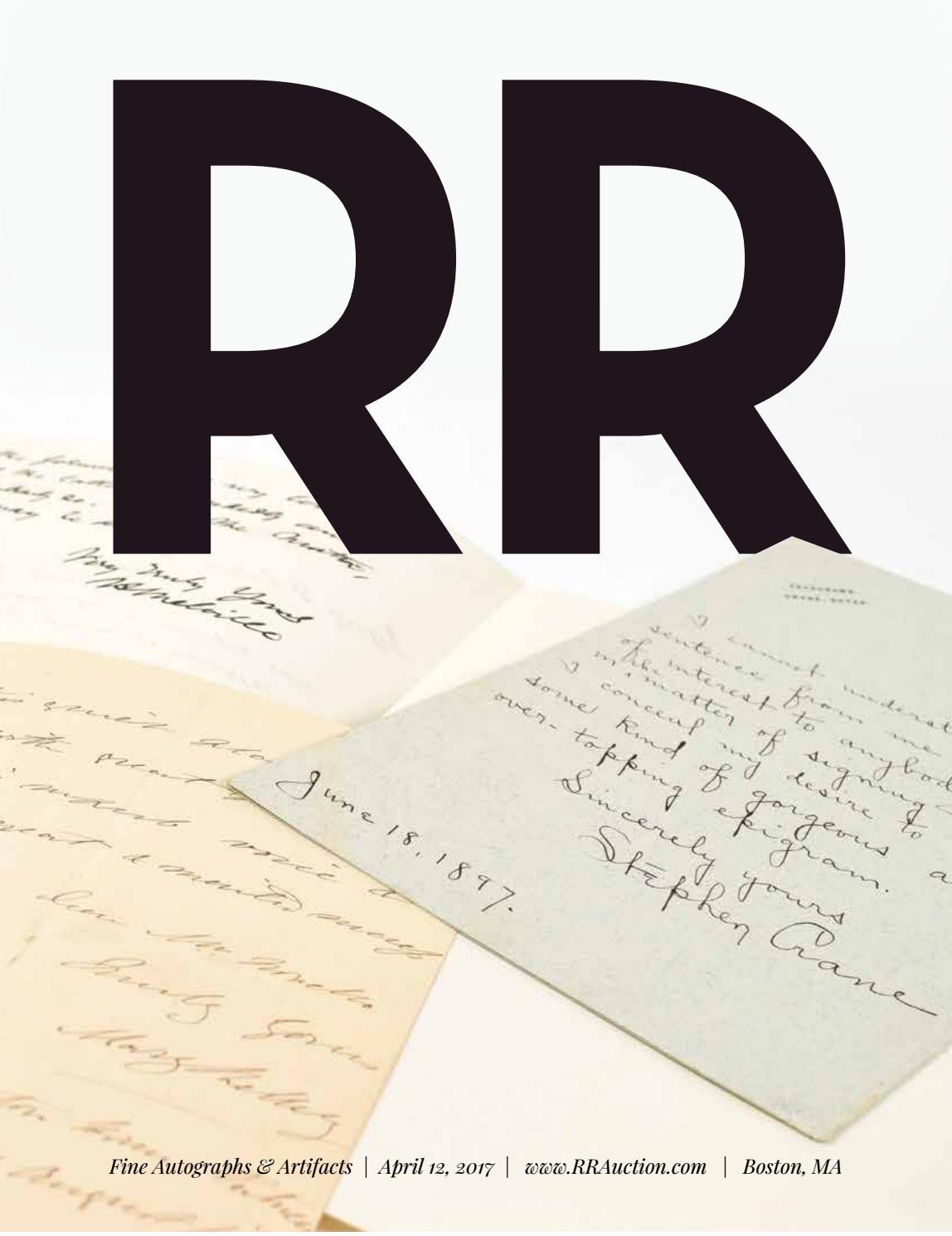 Rr Autograph Auctions Consignment Agreement: RR Auction: April 2017 Fine Autograph And Artifact Auction