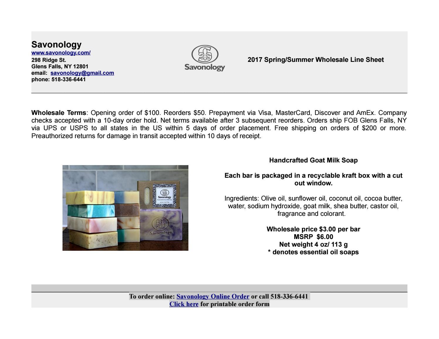Savonology Wholesale Linesheet 2017 by Savonology - issuu