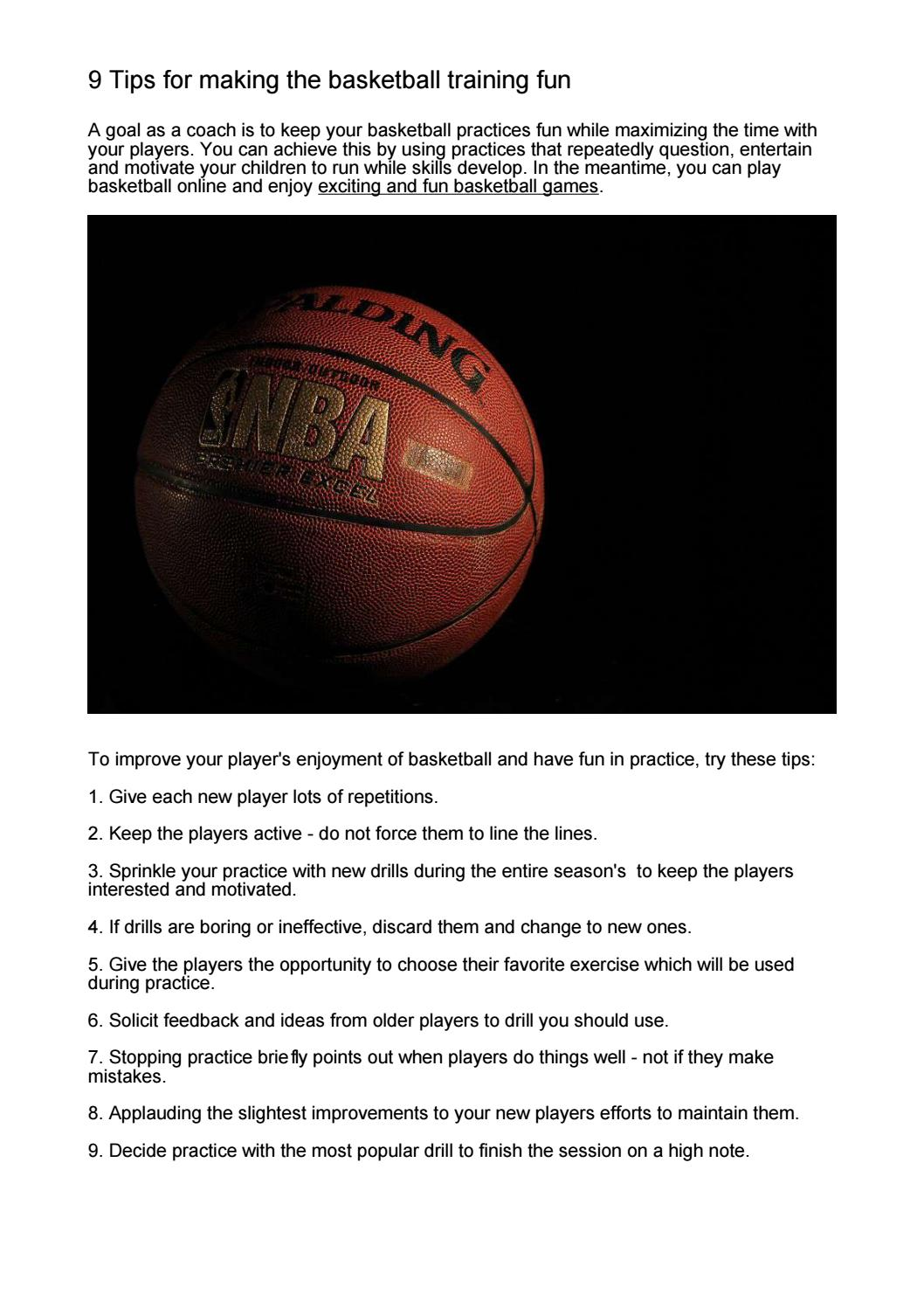 9 Tips For Fun Basketball Games Training By Kaukas Issuu