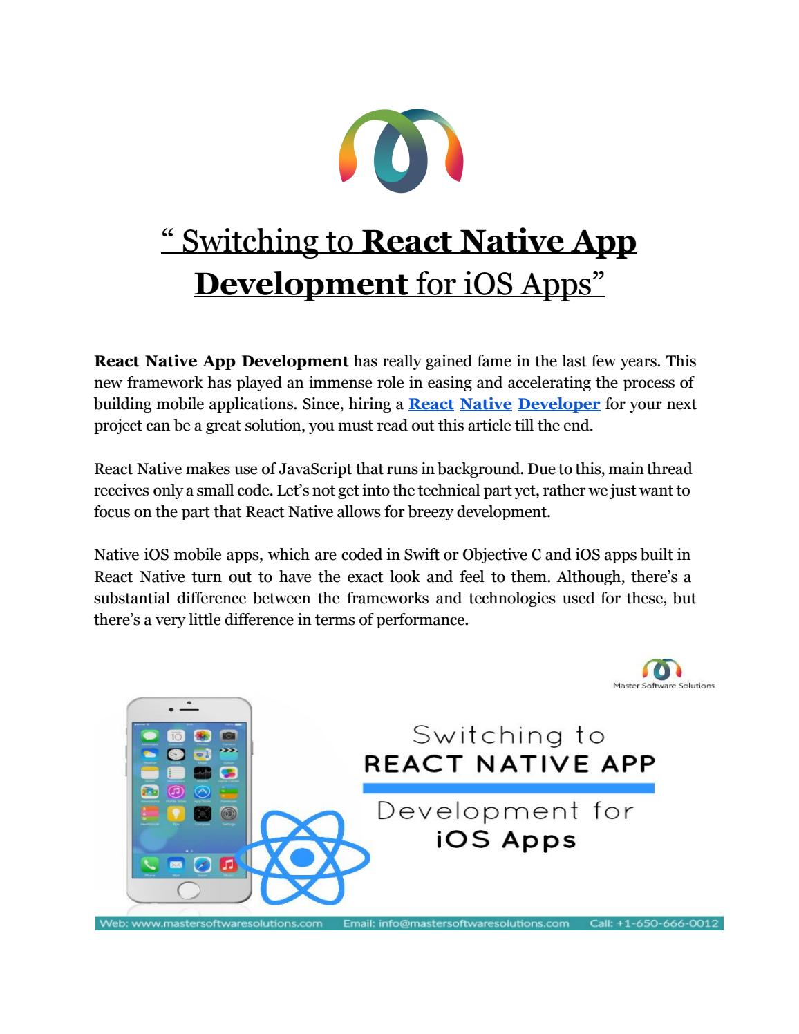 React native app development by Master Software Solutions