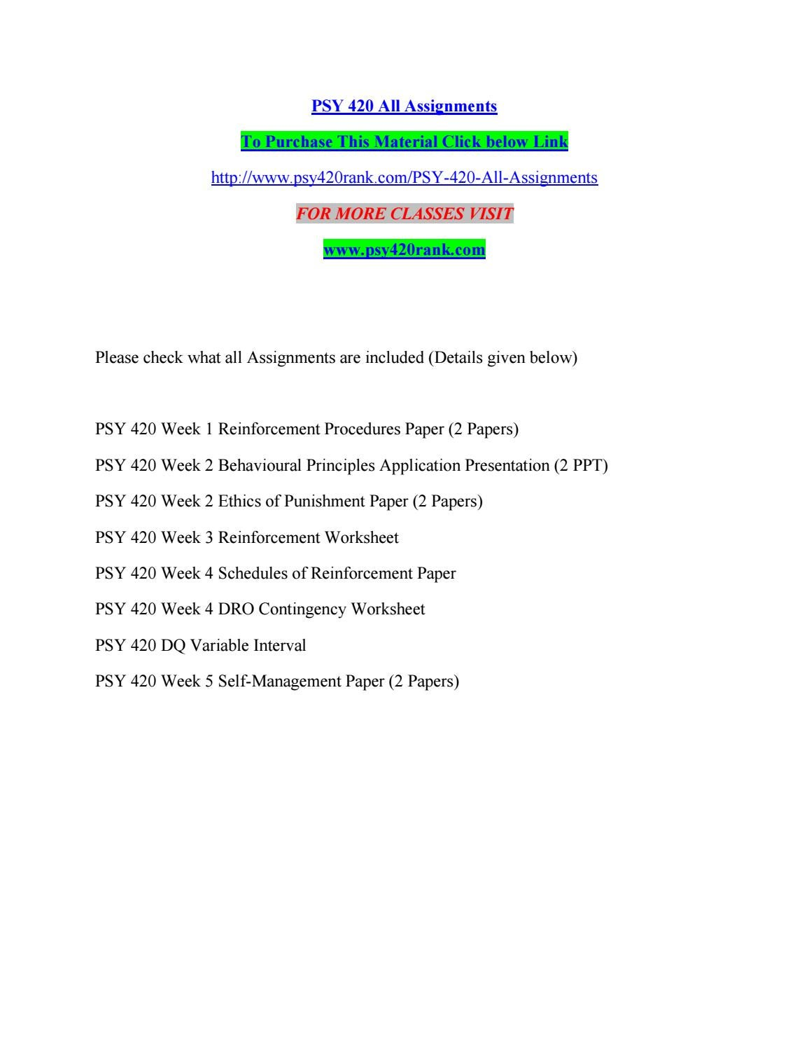 Worksheets Schedules Of Reinforcement Worksheet psy 420 all assignments by kelvinmanase35 issuu