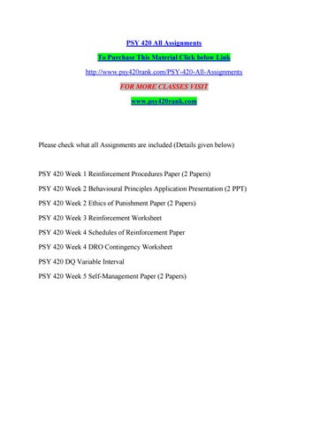 Psy 420 All Assignments By Kelvinmanase35 Issuu