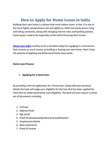 How to apply for home loans in india by anurag mishra issuu how to apply for home loans in india building their own home is a dream that most indians share in fact it is one of the most highly valued dreams too and altavistaventures Images