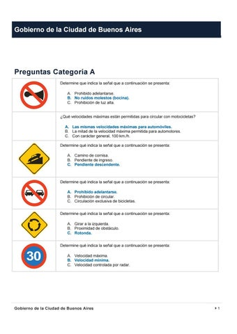 Preguntas Examen Licencia Motos Buenos Aires By Guia Buenas Practicas Motocicletas Issuu
