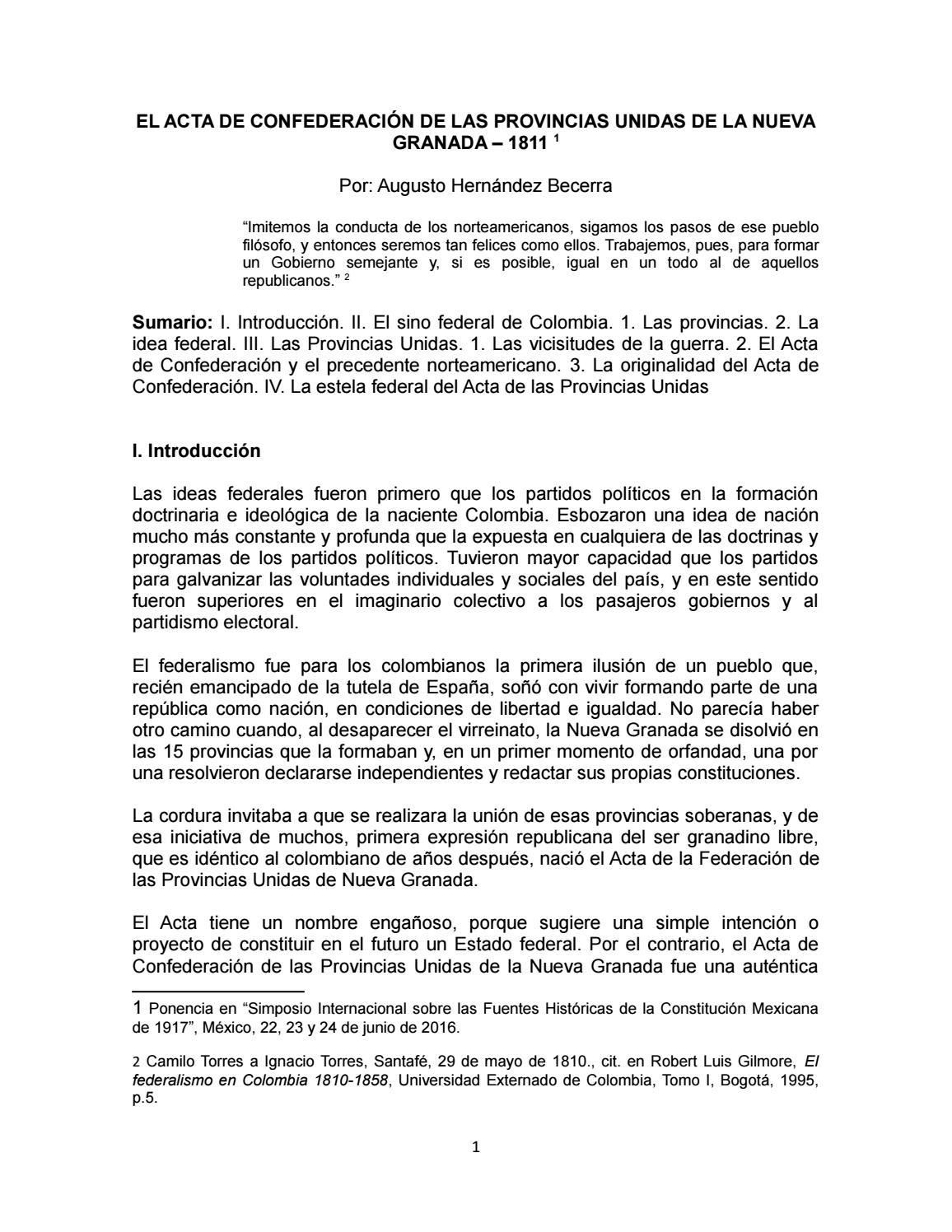 acta de confederacin de las provincias unidas de la nueva granada by estudio legal hernandez issuu