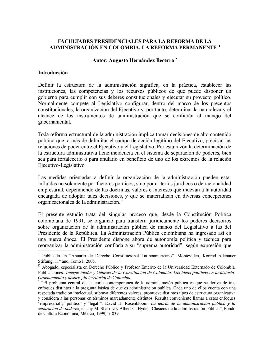 Facultades Presidenciales Para La Reforma De La