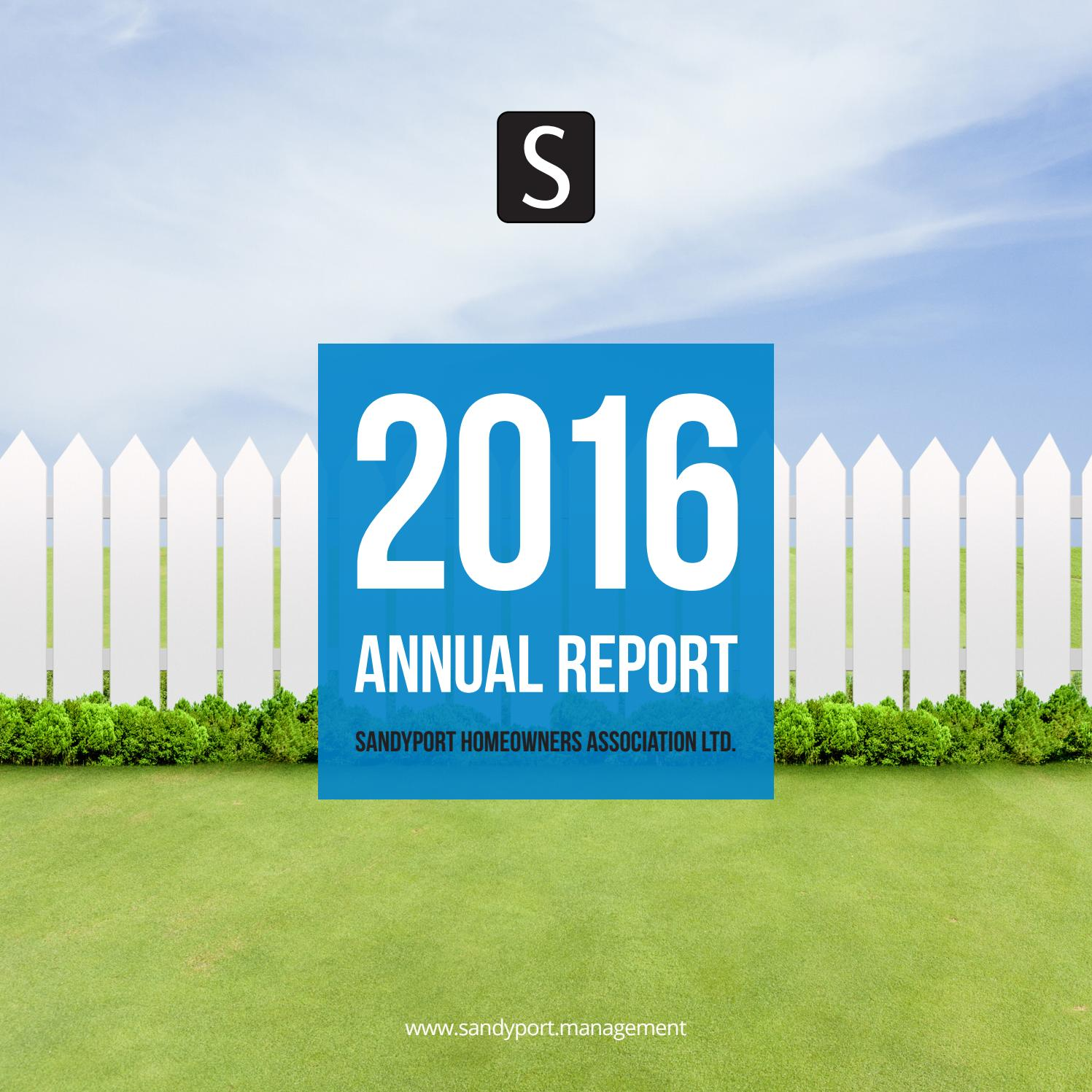Sandyport 2016 Annual Report by Sandyport Management - issuu