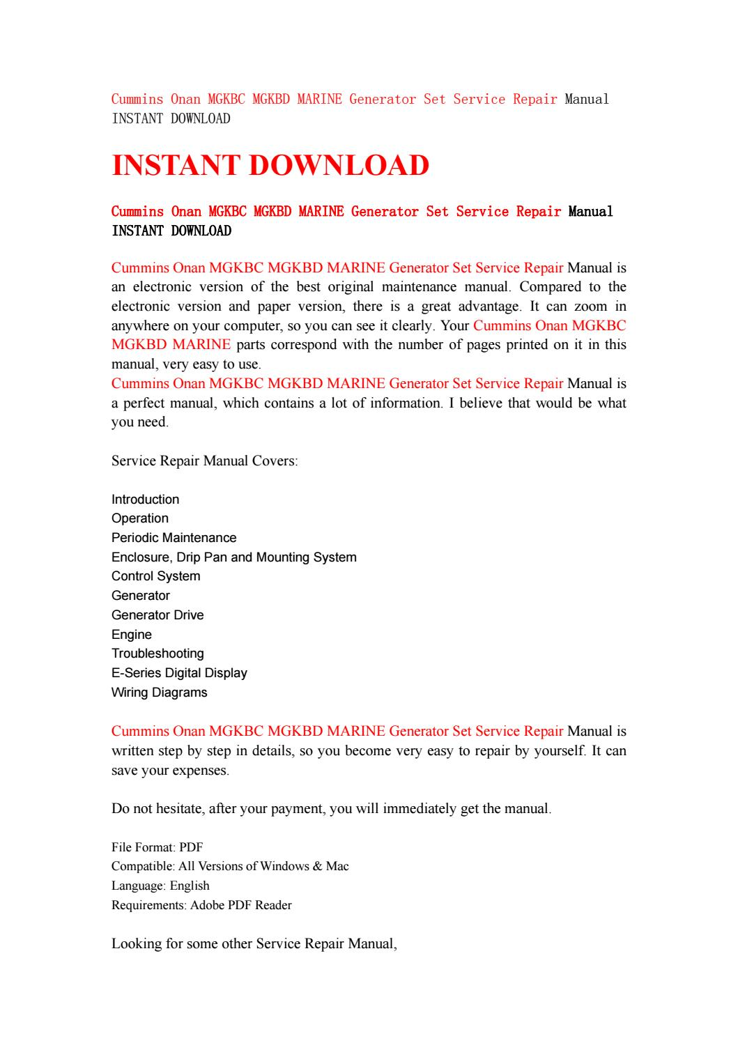 cummins onan mgkbc mgkbd marine generator set service repair manual