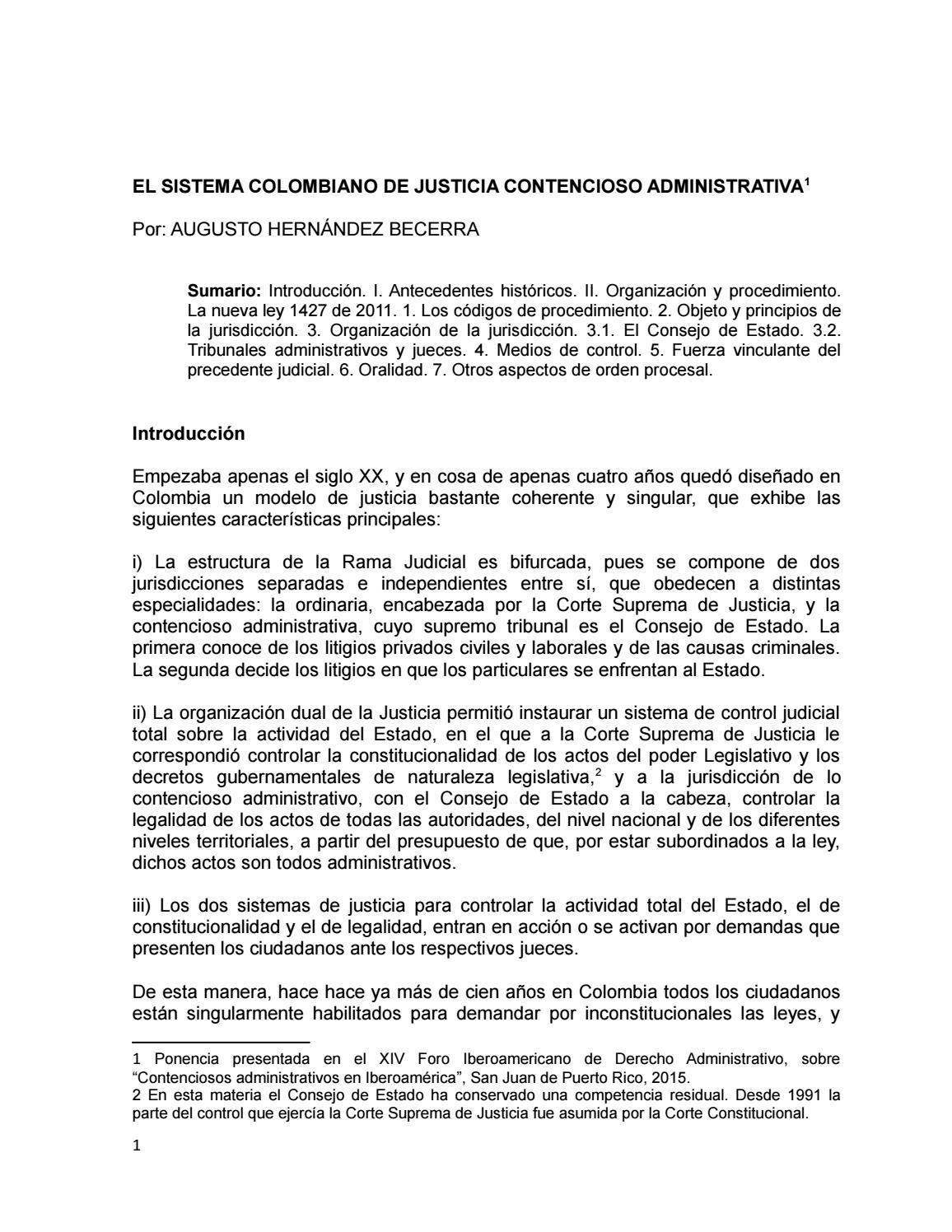 el sistema colombiano de justicia contencioso
