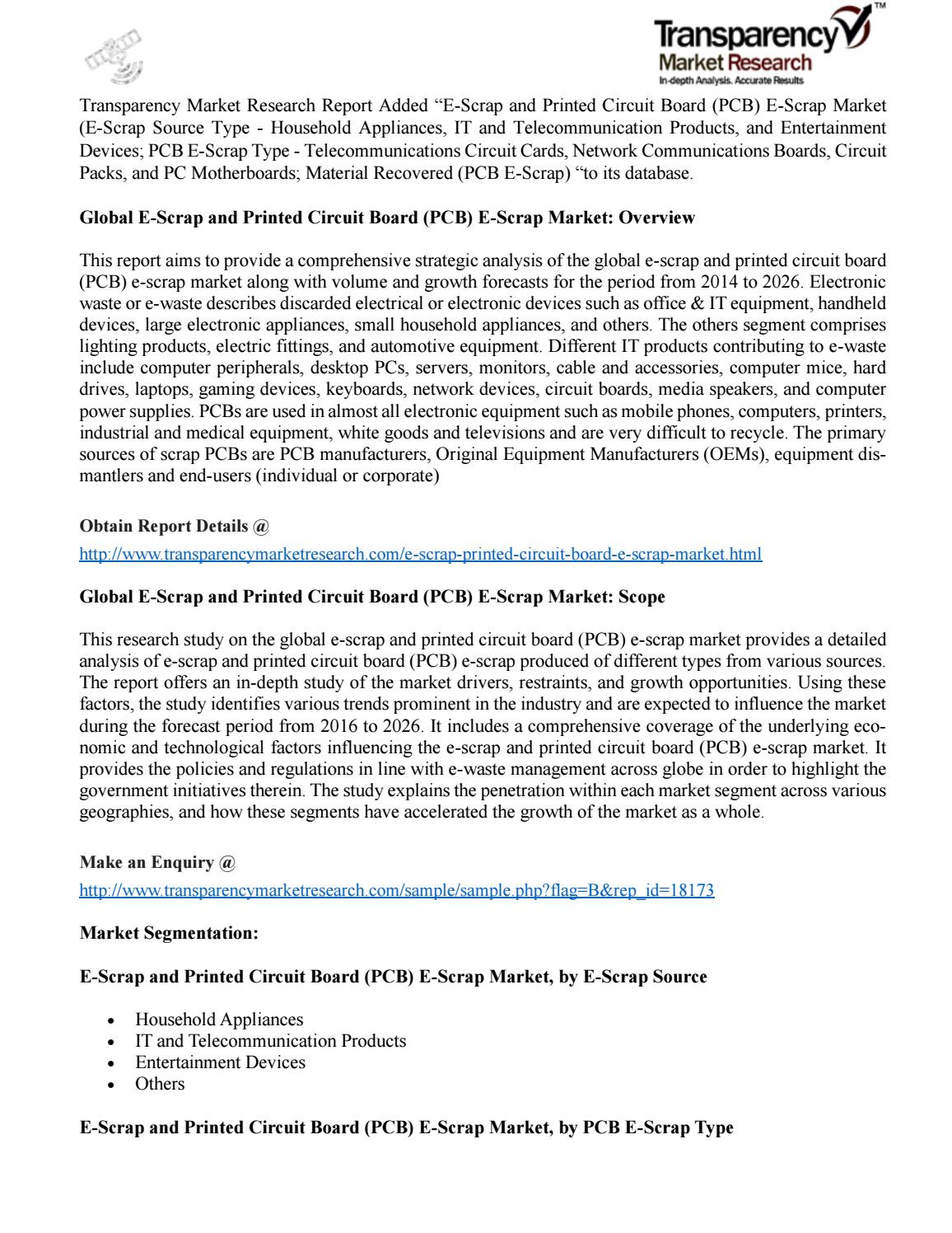 E Scrap And Printed Circuit Board Pcb Market By Technology Buy Home Theater Boardcircuit Boards Orderpcb Research Report Issuu